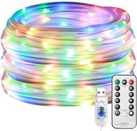 LED Rope Lights Battery Operated String Lights 8 Modes Fairy Lights with Remote Timer Outdoor Decoration Lighting for Garden