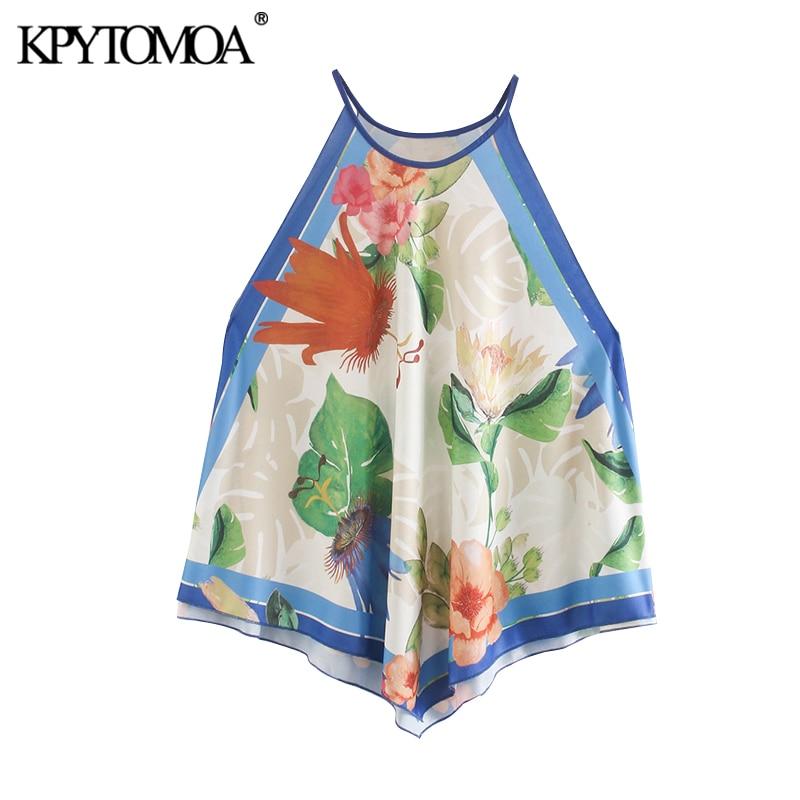 KPYTOMOA Women 2020 Fashion Print Asymmetric Halter Blouses Vintage Sleeveless Side Vents Straps Female Shirts Blusas Chic Tops