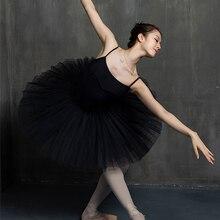 Tutu de Ballet professionnel blanc noir, taille élastique pour adultes, ballerine 5 couches, maille dure, jupe Tutu avec slip