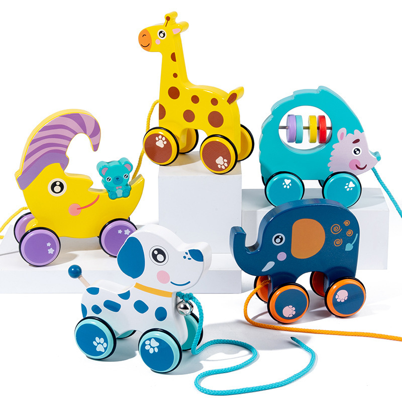 To Pull Animal Newborn Early Teaching Walker Toys Baby Toddler Toy Cartoon Animal Trailer Toddler Toys Hand Push Pull Car Toys