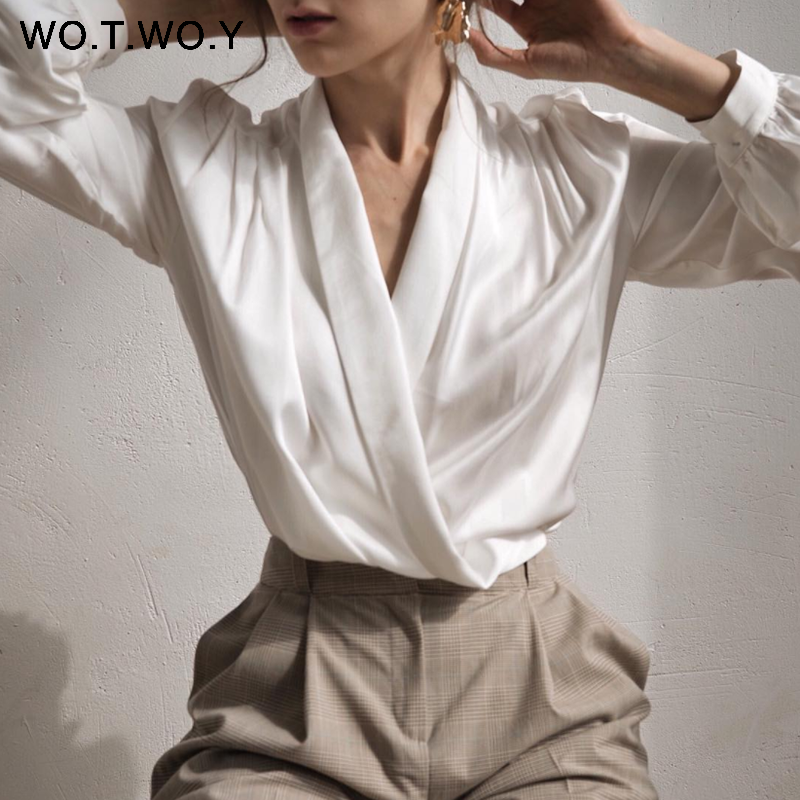 WOTWOY Sexy Deep V-neck Blouse Women 2020 Spring Summer Office Lady Pleating White Blouse Shirt Women Elegant Soft Tops Female