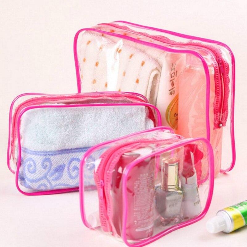 Travel PVC Cosmetic Bags Women Transparent Clear Zipper Makeup Bags Organizer Bath Wash Make Up Tote Handbags Case Makeup Tool