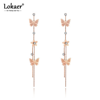 Lokaer Office Style Stainless Steel Butterfly Flower Tassel Earrings Trendy CZ Crystal Dangle Earrings For Women.jpg 350x350 - Lokaer Office Style Stainless Steel Butterfly Flower Tassel Earrings Trendy CZ Crystal Dangle Earrings For Women Girls E19273