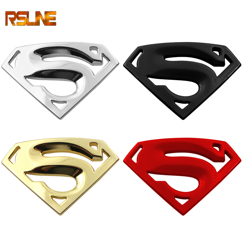 Metal 3D 3M Chrome Superman Auto Logo Badge Metal Superman Car Sticker Emblem Car Styling Accessories Motorcycle Glass Sticker