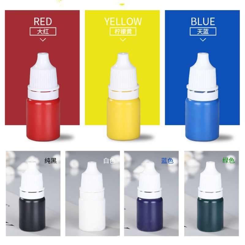 7 Pcs/Set Resin Drop Glue High Concentration Transparent Color Paste Pigment