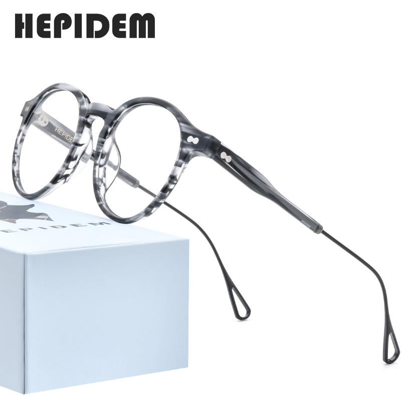 HEPIDEM Acetate Optical Glasses Frame Men 2020 Retro Vintage Round Eyeglasses Nerd Women Prescription Spectacles Eyewear 9121
