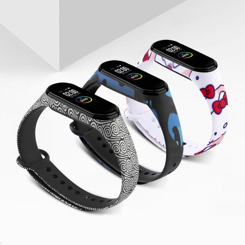 Yayuu Wrist Strap For Xiaomi Mi Band 4 3 Leopard Painted Pattern Silicone Sport Waterproof Smart Watch Band For Xiaomi Mi 3 4