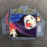 20ss Travis Scott Astroworld Jacket 1:1 high quality bomber Embroidery Cartoon Denim Astroworld jackets Mens Astroworld jackets