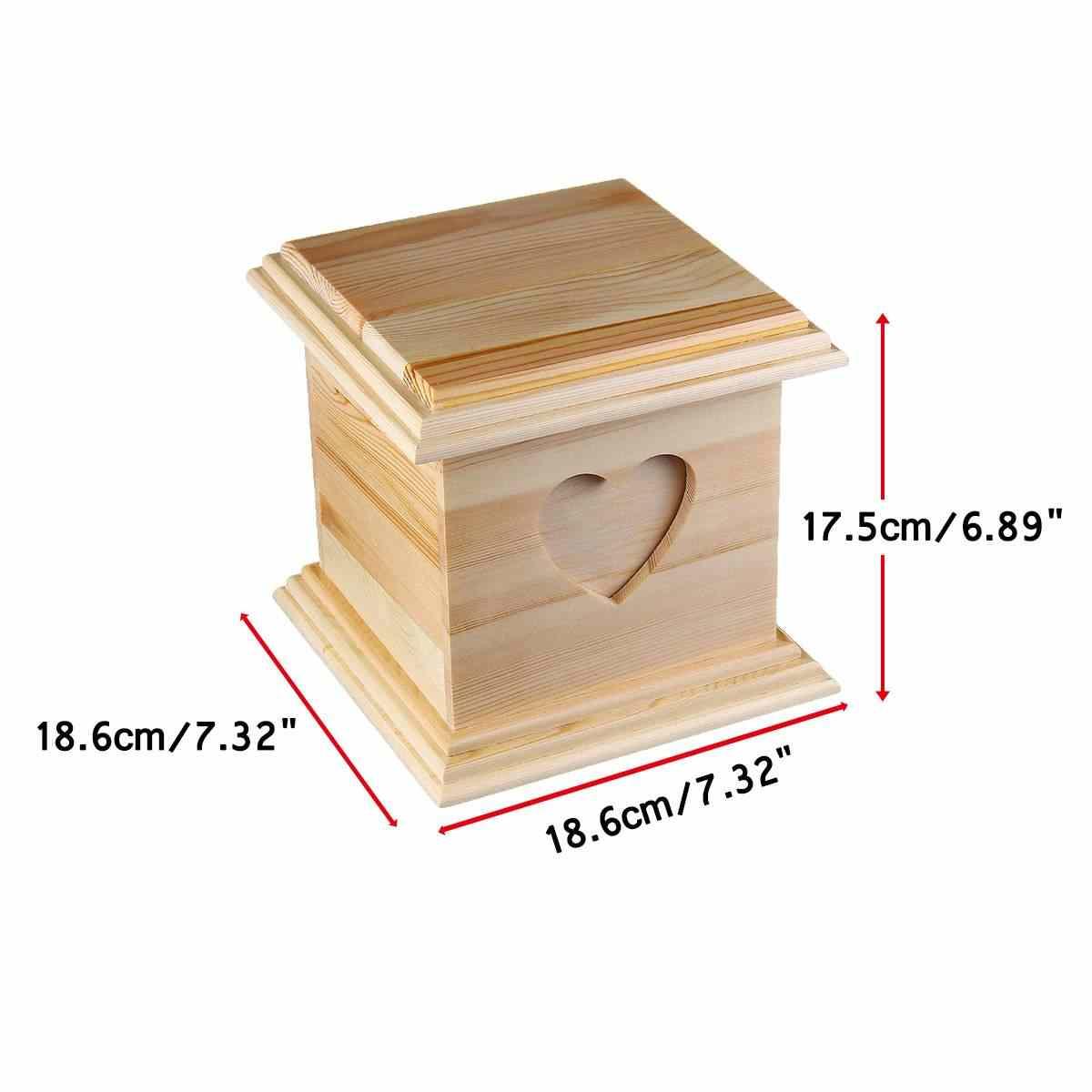 18.6x18.6x17.5cm עץ מיני לב שריפת גופות כד לחיות מחמד חתול כלב ציפור ארנב urnen Cinerary הלוויה ארון חיות מחמד אזכרות שימושי