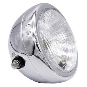 Image 4 - 6 אינץ 35W 12V האוניברסלי רטרו מתכת ערפל מנורת אופנוע פנס צד הר עגול מנוע פנס עבור מחזיק להאלי/סוזוקי