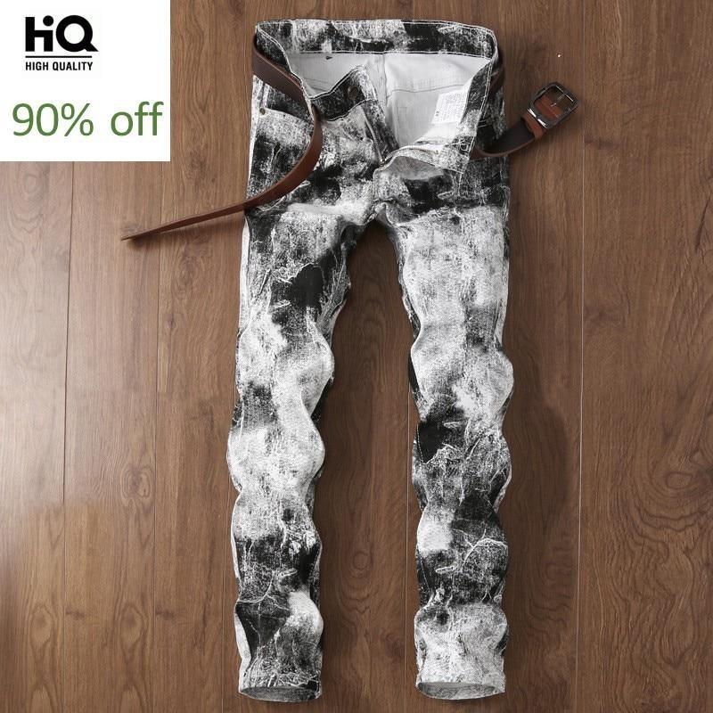 Cowboys Man Jeans 2020 New Fashion Brand White Print Straight Full Length Slim Fit Mens Pants Motor Men's Denim Trousers
