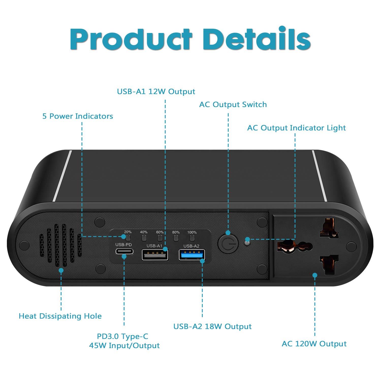 Купить с кэшбэком 220V AC Power Bank 45W PD/QC 3.0 External Battery Pack & 30000mAh 120W Portable Power Station for Laptop,outdoor,home appliances