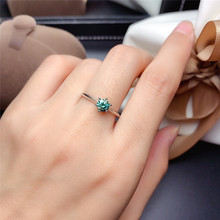 Green Moisaanite Ring 0.5CT 5MM Lab Diamond Fine Jewelry Classic Design for Women Wedding Party Gift Real 925 Sterling Silver