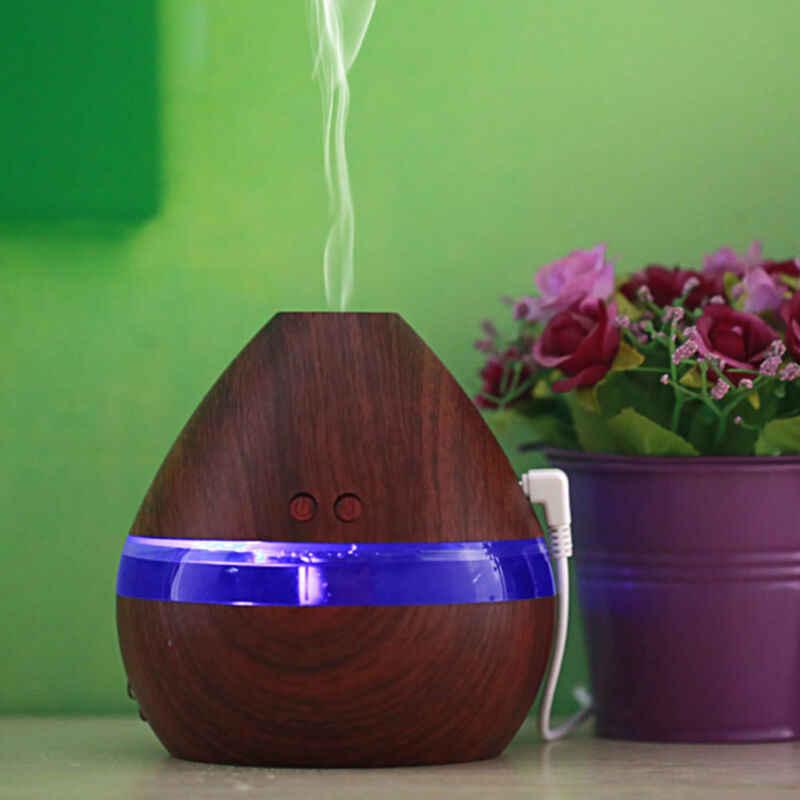 ไฟฟ้า Humidifier Essential AROMA Oil Diffuser อัลตราซาวด์ไม้ความชื้นอากาศ USB MINI Mist LED Light สำหรับ