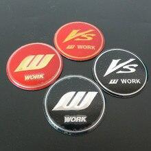 Autocollants pour centre de roue 56mm VS W, 4 pièces, badges Logo, emblème, accessoires de style automobile, Surface cambrée