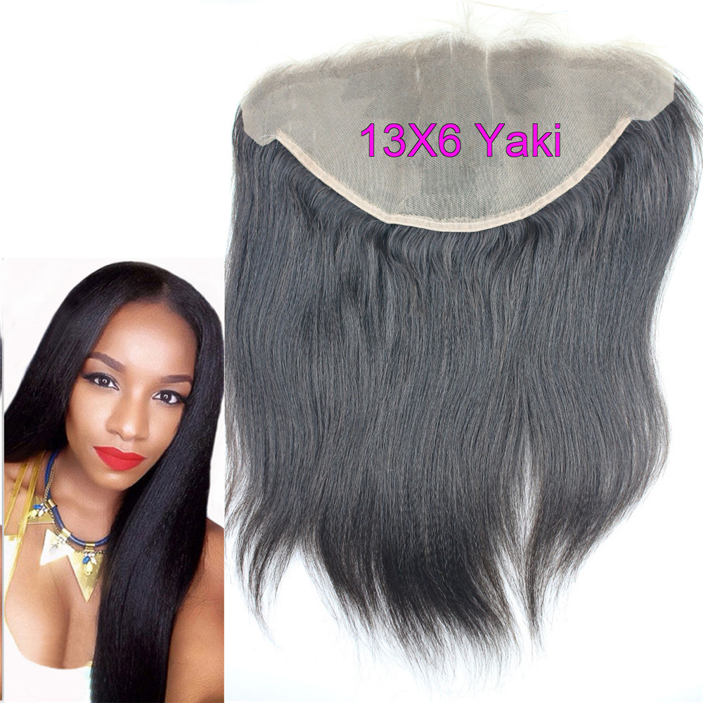 Eseewigs 13x6 Human Hair Lace Frontal Closure Ear To Ear Free Part Brazilian Remy Lace Frontals Yaki Straight With Baby Hair