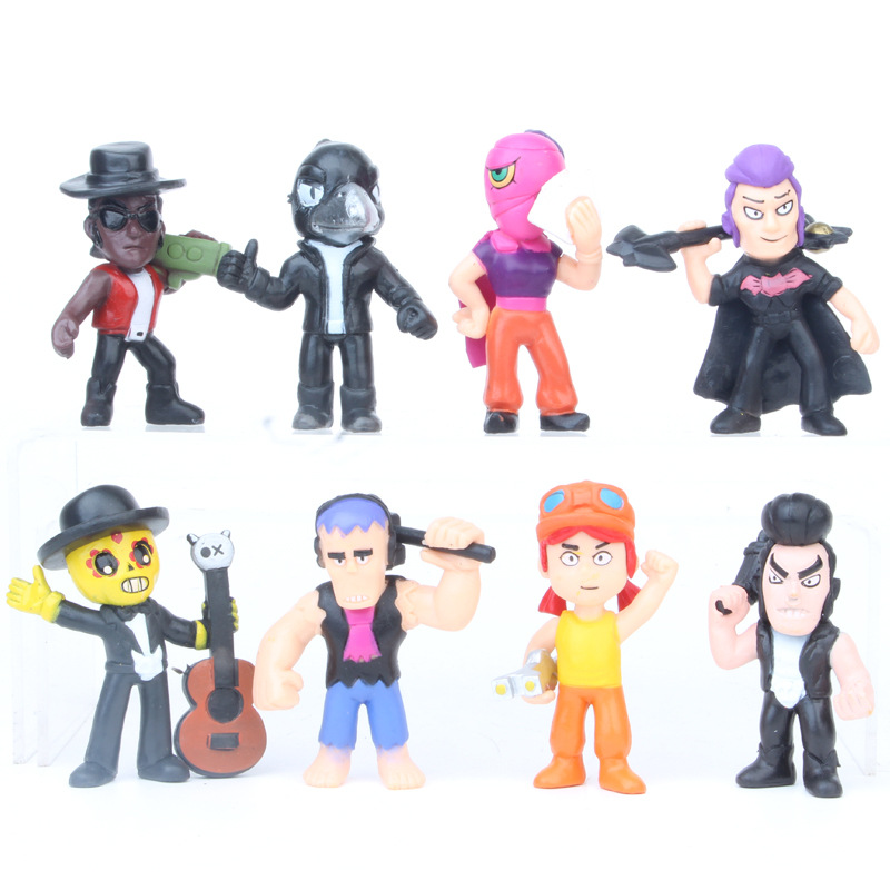 8 Piece Set Brawl Star Handmade Model Decoration Doll Fighting Game Peripheral Toy Doll Movable Character Doll Toy Gift
