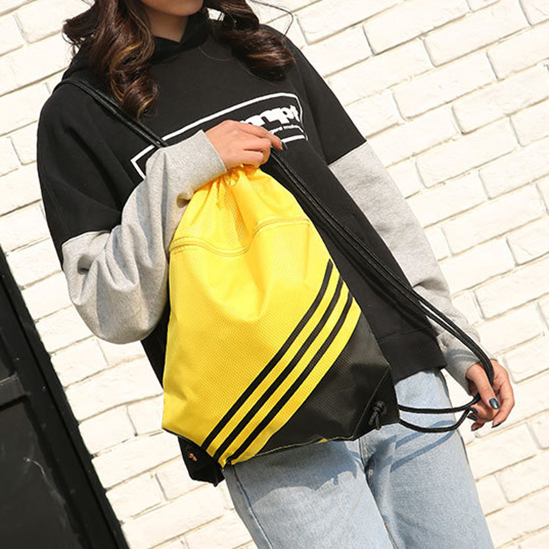 Double Color Stitching Stripe Drawstring Bag Travel Backpack Sports Backpack Men Women Waterproof Nylon Storage Bag J9