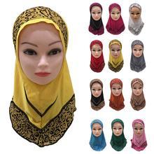 Girls Kids Muslim Hijab Hats Islamic Arab Prayer Scarf Cap Shawls Amira Headwear Leopard Patchwork Headscarf Ramadan Turban New