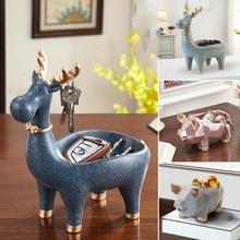 Creative 3D Deer Pig Statue Resin Desktop Arts Sculpture Keys Storage Holder Rack Home Decoration Accessories
