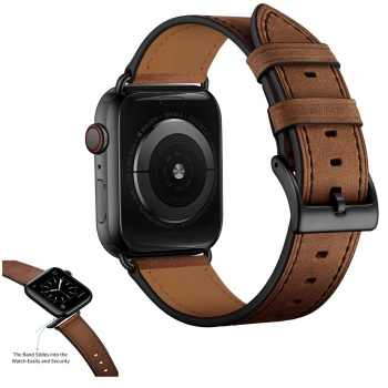 Dark Leather Band for Apple Watch