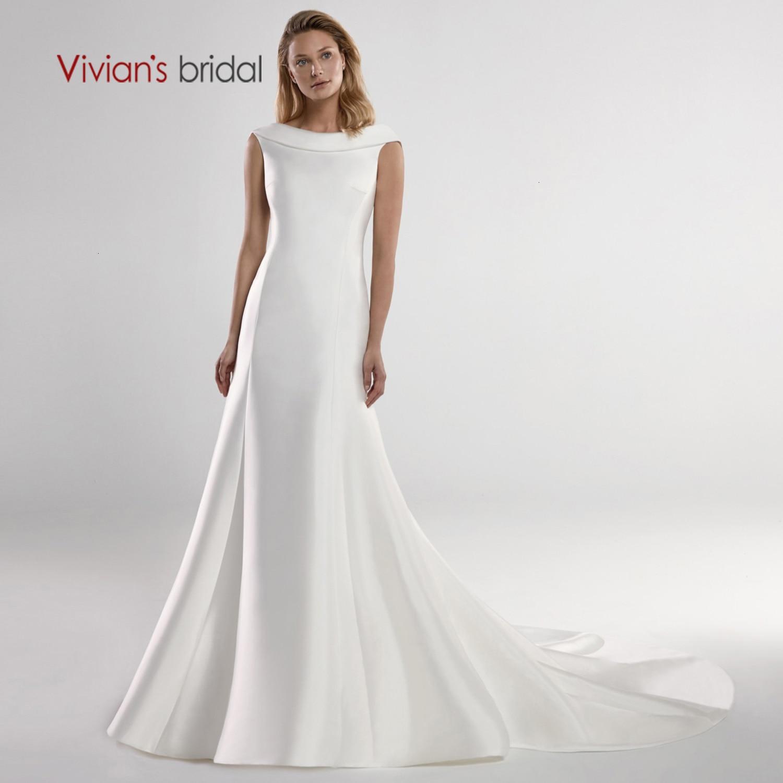 Vivian's Bridal Tiered O-neck Matta Satin Wedding Dress 2019 Elegant Back Button Lace Appliques Court Train Bridal Dress
