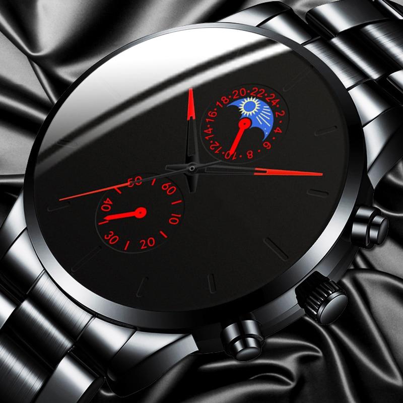 Reloj Hombre Luxury Fashion Business Men Watches Classic Black Stainless Steel Analog Quartz Wrist Watch Relogio Masculino