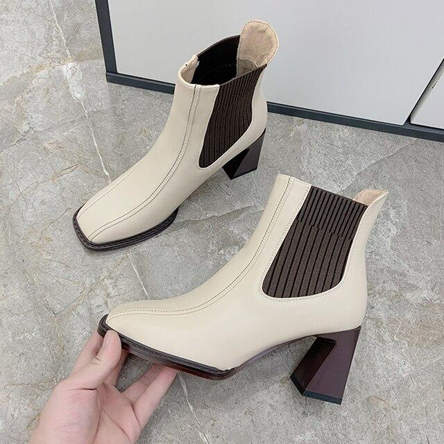 2020 botas de Chelsea para mujer, botas de tacón alto cuadradas para mujer, botas de mujer, zapatos de tejido elástico, zapatos casuales para mujer 2
