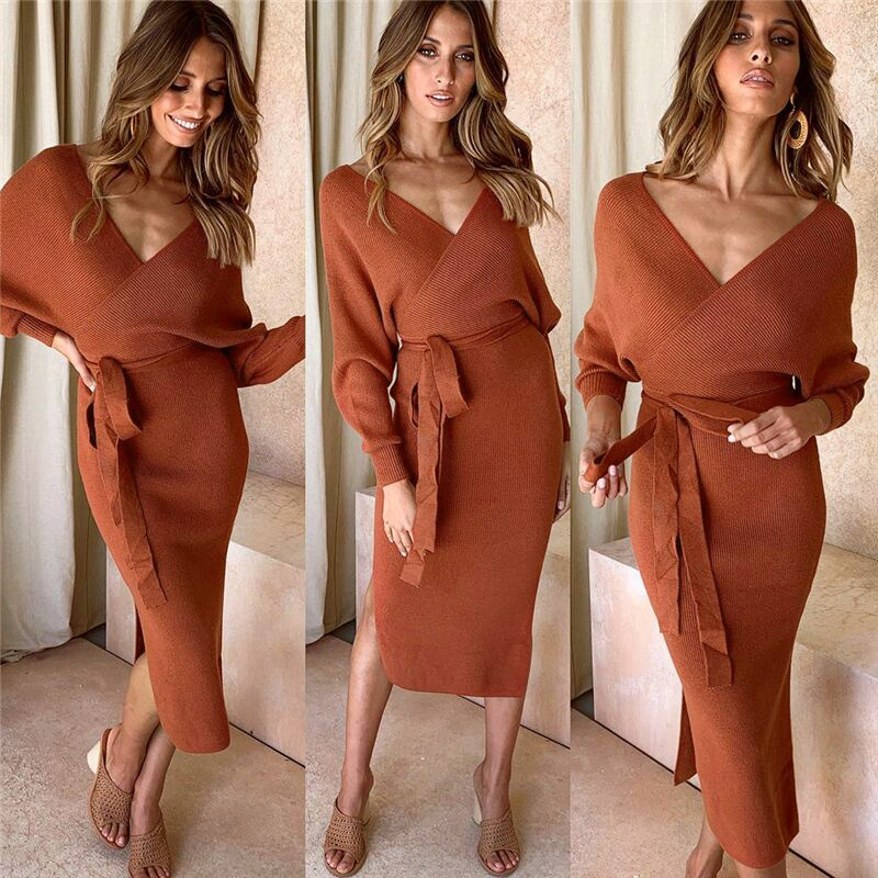 2019 New Autumn <font><b>Winter</b></font> Solid <font><b>Sexy</b></font> V Neck Long Sleeve Women's <font><b>Dress</b></font> slim Lace Up Long <font><b>Dress</b></font> Fashion Party Backless Knitted <font><b>Dress</b></font> image