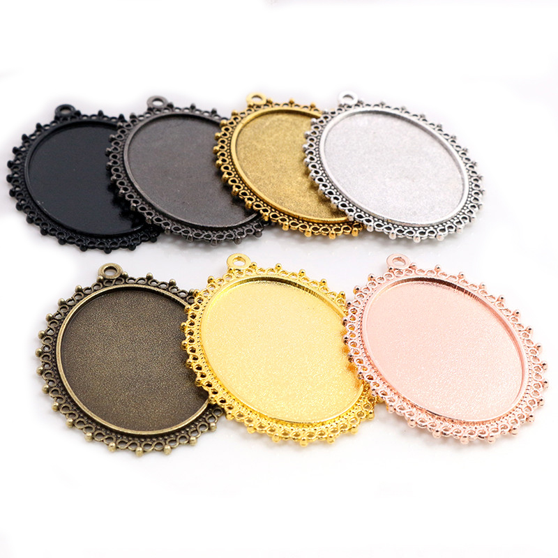 New Fashion 5pcs 30x40mm Inner 7 Colors Plated Classic Flower Style Cabochon Base Setting Charms Pendant