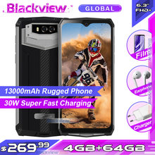 Blackview BV9100 13000mAh IP68 Robuuste Smartphone 6.3 ''19.5: 9 4GB 64GB Helio P35 Android 9.0 Mobiele Telefoon 30W Snelle Lading(China)