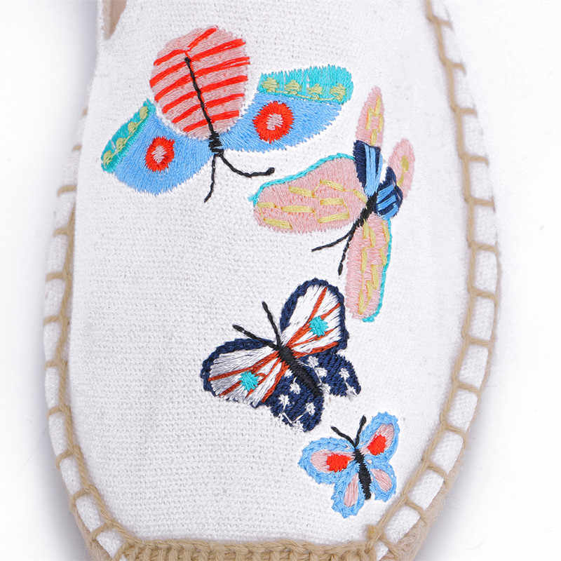 MInmclas Neue Mode Stickerei Komfortable Damen Womens Casual Espadrilles Schuhe Atmungs Flachs Hanf Leinwand für Mädchen