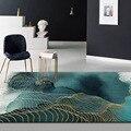 Модный абстрактный ковер с золотой линией и зелеными чернилами  напольный коврик для гостиной  прикроватный плюшевый коврик для спальни на ...