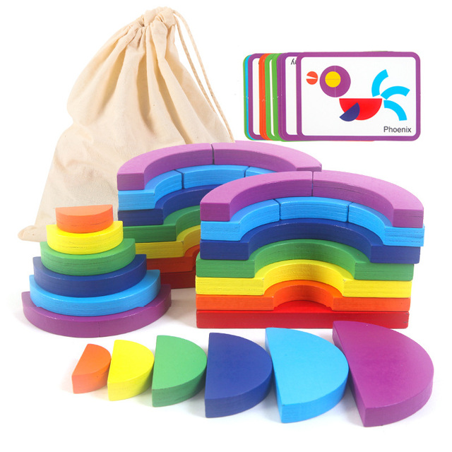 New Kids Wooden Rainbow Building Blocks Toy Geometric Shape Wood Stack Baby Educational Toys for Children Thinking Training Game