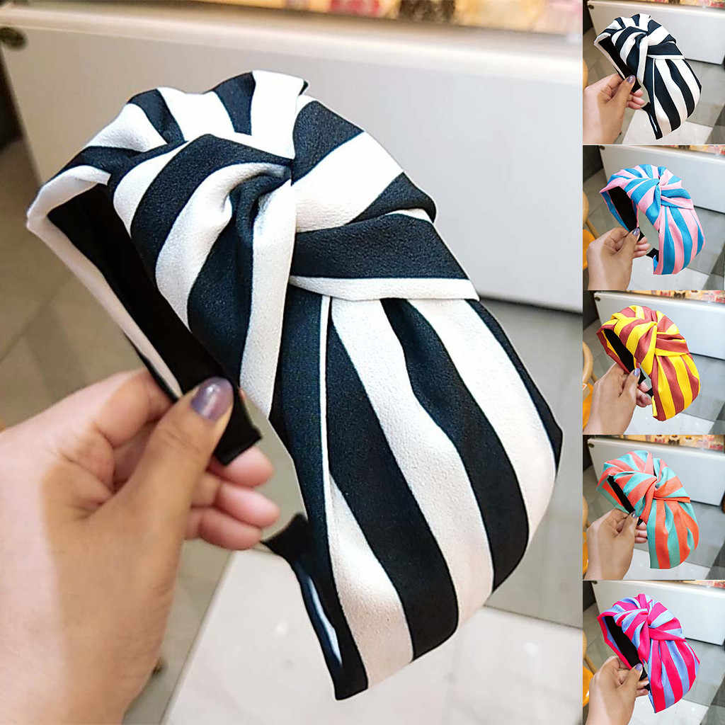 Stripe Women Hair Accessories Ladies Wide side hair hoop Hairband Hair Head Hoop Sweet Girls 2020 New Headband wholesale