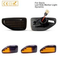 2Pcs LED แบบไดนามิกด้านข้างไฟเลี้ยวไฟสัญญาณสำหรับ Dacia Logan II 2012 Sandero II 2012 Duster 2018 Amber ตัวบ่งชี้ Repeater โคมไฟ