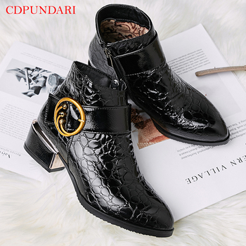 Black buckle Ankle boots for women low heel boots Ladies Round Toe spring autumn Casual Short boots shoes blue Wine red red ankle boots studded rivets military boots designer shoes women luxury 2018 short combat cowboy boots womens buckle strap