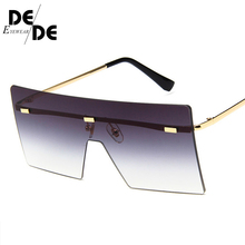 The New big one piece lens sunglasses women square blue pink brown metal rimless sun glasses for men male 2018 uv400