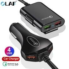 Автомобильное зарядное устройство с 4 usb-портами, быстрая зарядка 3,0, автомобильное зарядное устройство с кабелем 1,7 м для планшета, смартфона iPhone X 8 7, расширенный адаптер QC 3,0