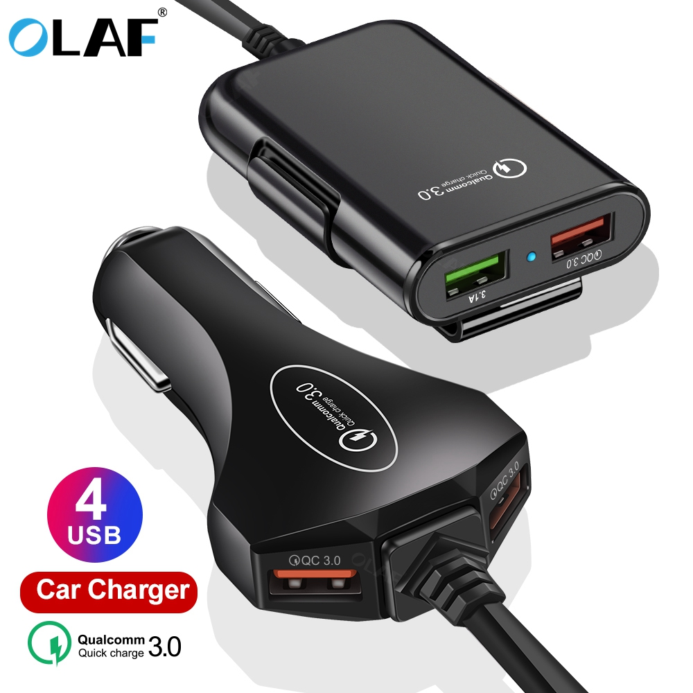 4 USB Port Car Charger Quick Charge 3.0 Car-Charger with 1.7m Cable for Tablet Smartphone iPhone X 8 7 QC 3.0 Extending Adapter