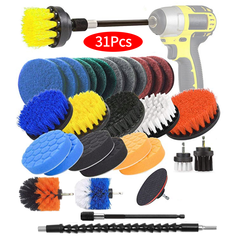 Drill Brush Scrub Pads 31 Piece Power Scrubber Cleaning Kit - All Purpose Cleaner Scrubbing Cordless Drill for Cleaning Pool Til(China)