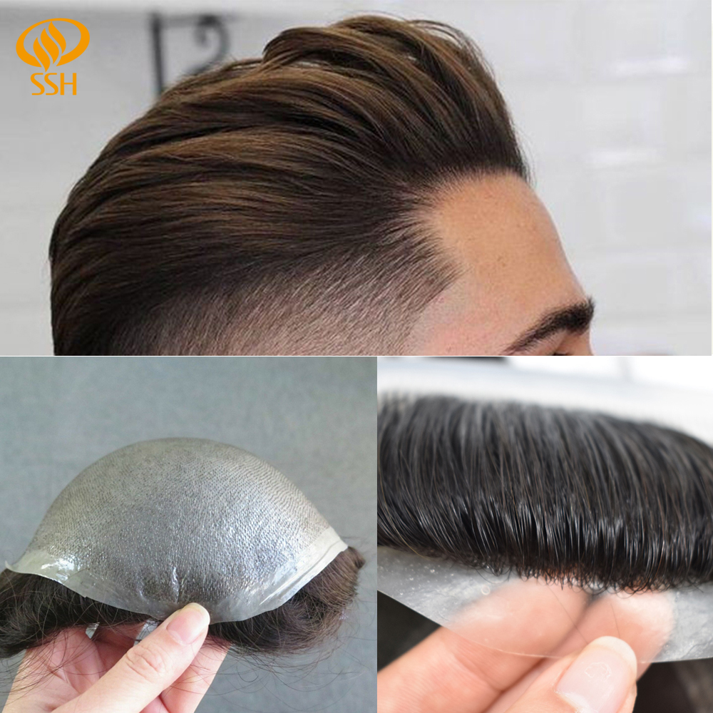 SSH Full Poly Mens Toupee Durable PU Remy Human Hair System Hairpiece Thin Skin Mens Wig Hair Replacement With Natural Hairline