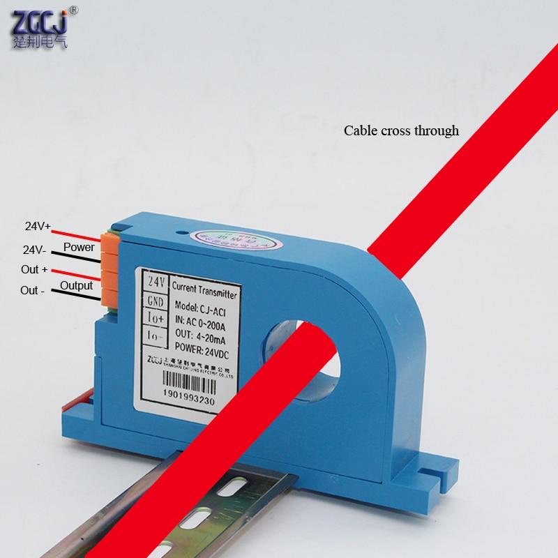 Бесплатная доставка Ампер преобразователь тока трансформатор переменного тока 10A 20A 30A 50A 100A 200A ток передатчик 4-20ma выход