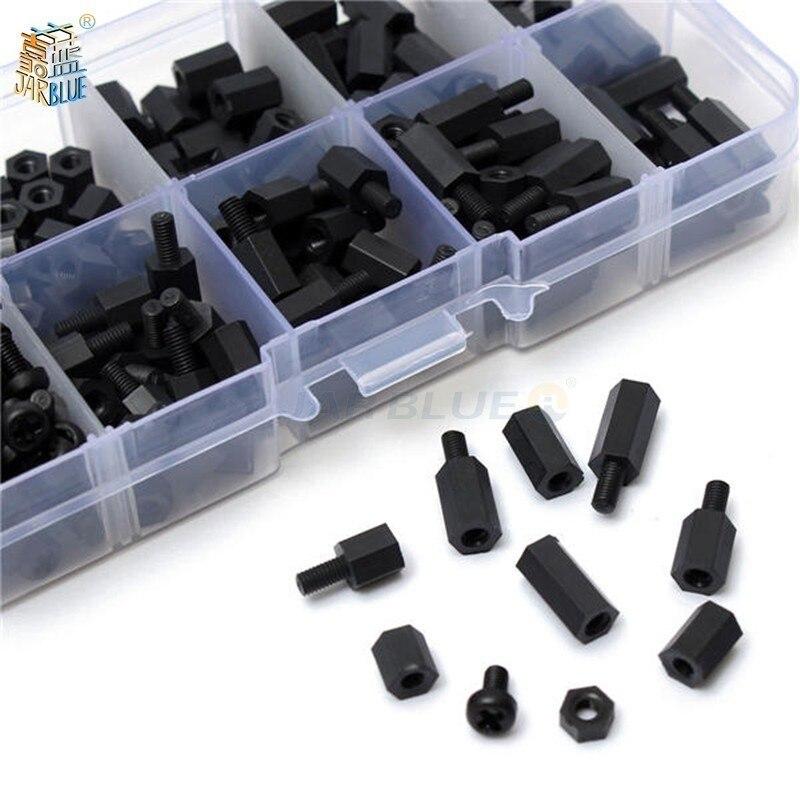 200 unids/set M2 M2.5 M3 M4 negro/blanco hexagonal Nylon separador columna cabeza plana Nylon plástico espaciado tornillos tuercas