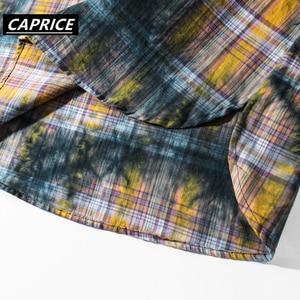 Image 5 - Tie Dyeing Plaid Mens Shirts 2019 Fashion Harajuku Streetwear Tops Hip Hop Casual Cotton Oversized Male Long Sleeve