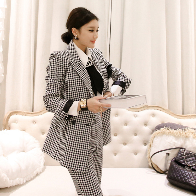 2019 Autumn Winter Women Office Elegant Vintage New Korean Fashion Plaid Female Double-Breasted Jacket + Long Pant Two-Piece Set