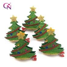 Cn 2 шт/лот блестящие заколки для волос с рождественской елкой