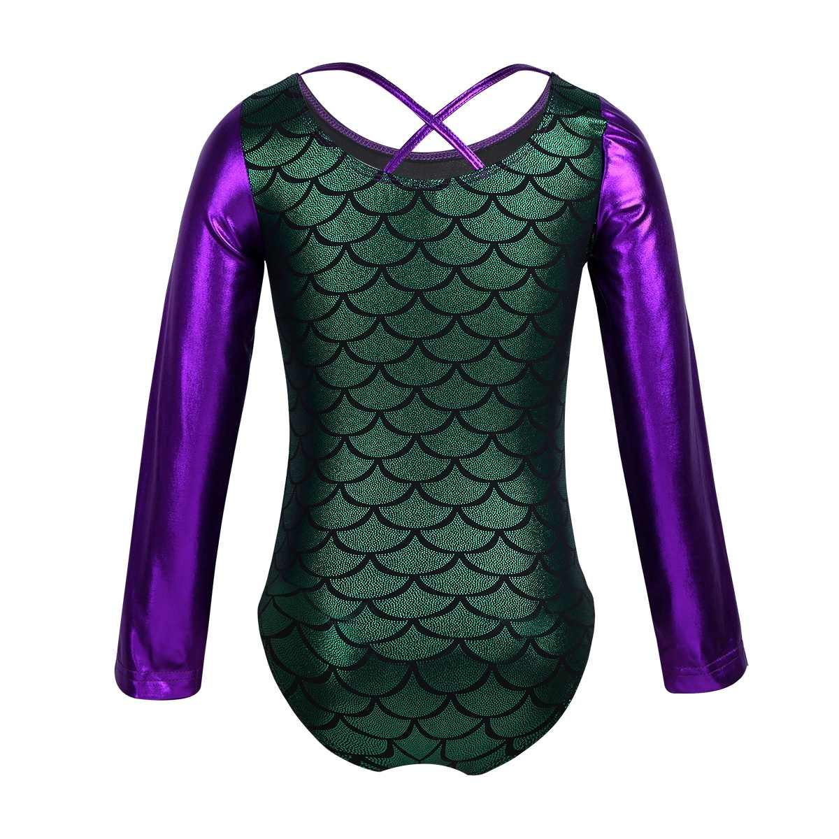 Kids Girls Gymnastics Swimsuit for Dancing Glittery Dance Bodysuit Scales Printed Splice Ballet Tutu Costumes Leotard Dancewear