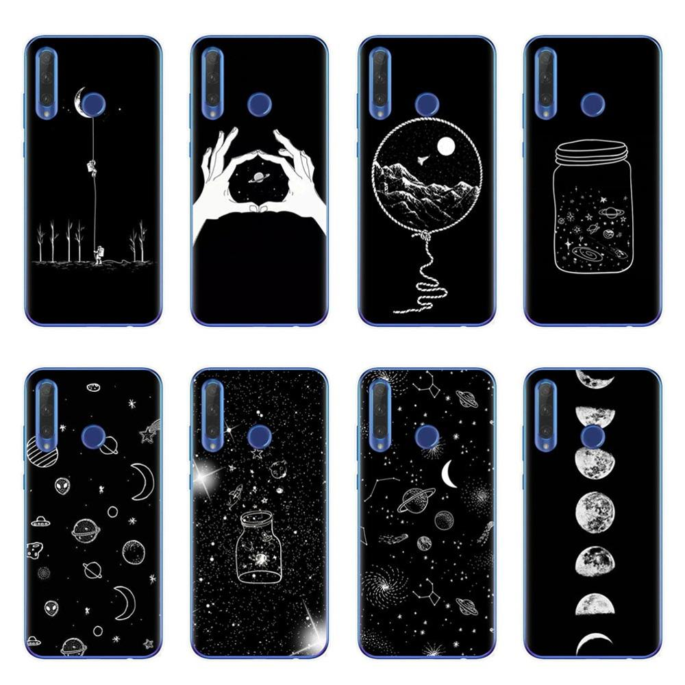 Black With White Moon Stars Space Astronaut Soft Silicone Phone Case For Huawei Honor 9 10 20 Lite 10i 8X 8C 9X Pro Cover Coque image