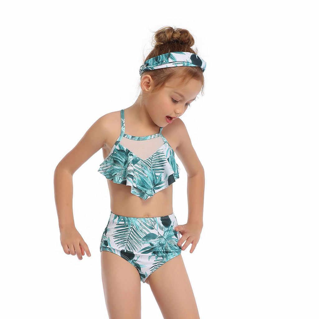 Bayi Perempuan Baju Renang Anak-anak Pakaian Renang Floral Cetak Anak-anak Bikini Set Ruffle A Baju Renang Anak-anak Pakaian Renang Pantai